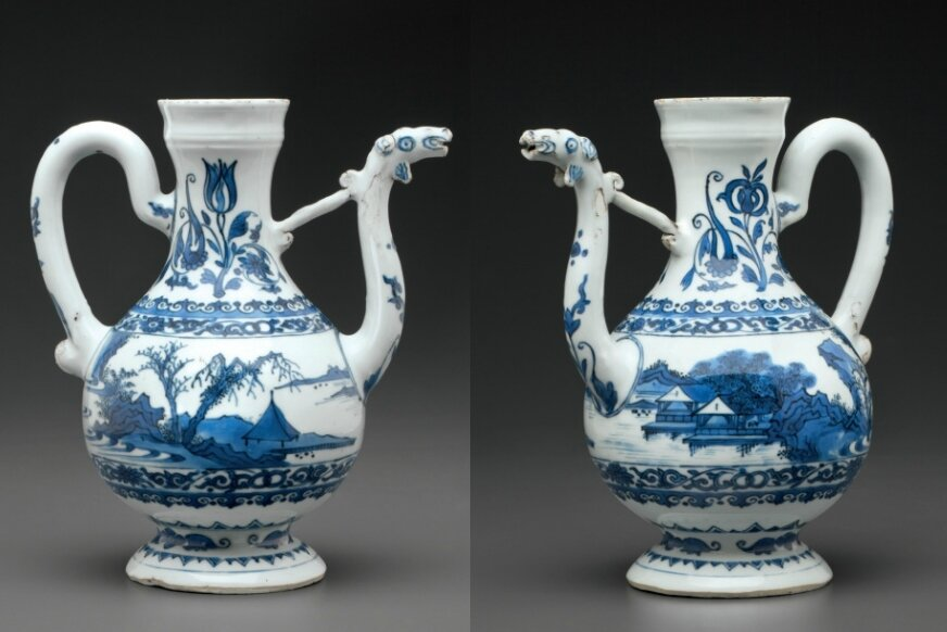 A blue and white ewer, Transitional period, circa 1650