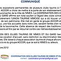 Communiqués de la coordination des clubs taurins de nîmes et du gard sur l'affaire de l'hôtel atria à nîmes et du groupe accor