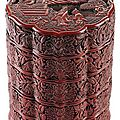 A fine and rare ming red lacquer four-tiered hexafoil box and cover, china, early ming dynasty (1368-1644), early 15th century