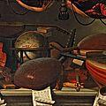 Bartolomeo bettera. nature morte au globe céleste, avec un violon, des mandolines, et des partitions de musique sur un entableme