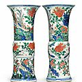 A pair of wucai beaker vases, Transitional period, circa 1635-50