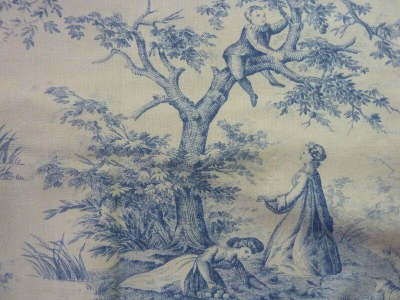 1799 tissu ancien toile de jouy impression bleue sur fond jaune l 39 univers textile des. Black Bedroom Furniture Sets. Home Design Ideas