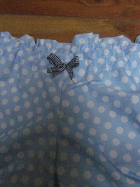 Culotte BIANCA en coton ciel à pois blanc - noeud vichy marine - Taille L (3)