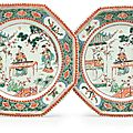 A pair of famille verte octagonal chargers, kangxi period (1662-1722)