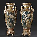 Paire d'importants vases balustres et hexagonaux en faence de satsuma. Japon vers 1900