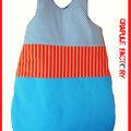 Turbulette GigOteuse XXL mixte orange rayure et bleu psyché