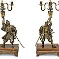 An impressive pair of miyao bronze candelabra. by the miyao workshop, meiji period (late 19th century)