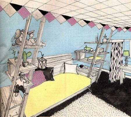 bonne_soir_e_d_coration_chambre_enfant_cirque_circus_room_1956_VINTAGE_child_50s_50er_kinder_raum