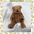 Doudou peluche ours assis marron gimmicks