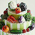 Détail, gâteau pour une folle de fruits et légumes