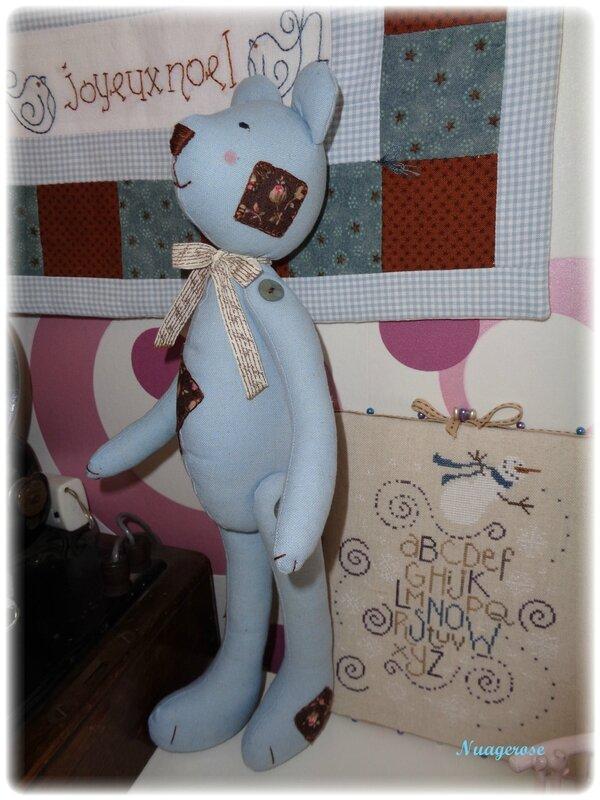 ourson tilda bleu avec empiècements (3)