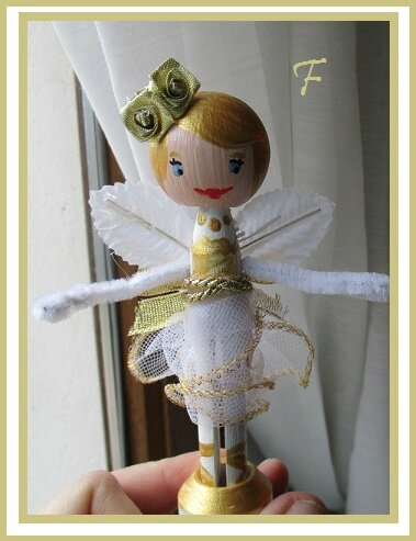 clothepin doll gold 1