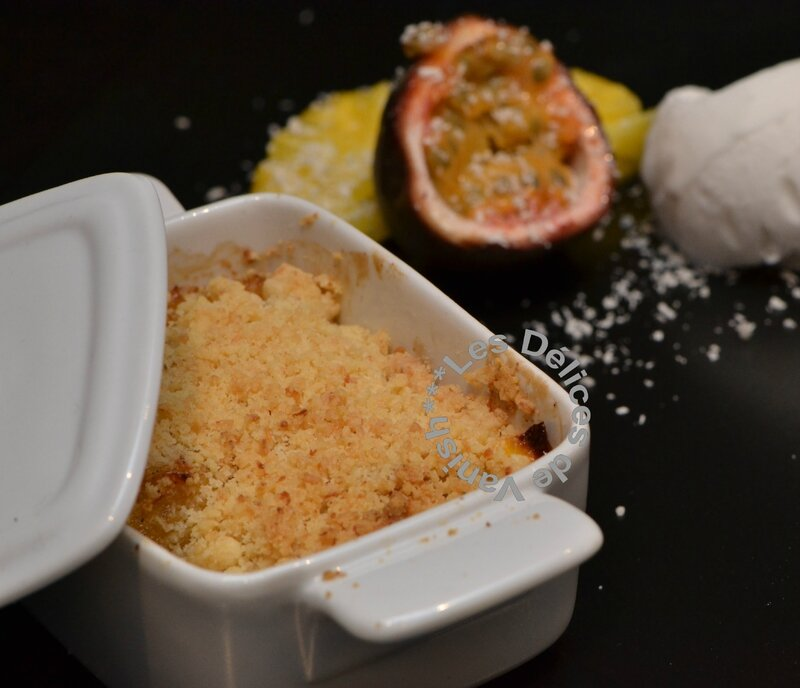 crumble, fruits exotiques, découpe ananas, glace thermomix