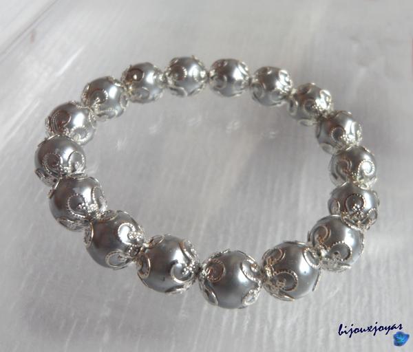 Bracelet Perles Nacré Gris 10 mm Métal Argenté Elastique