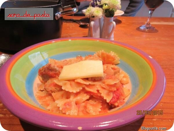 Farfalles au fromage pour raclette.