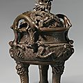 A bronze 'dragon' censer and cover, qing dynasty, 19th century