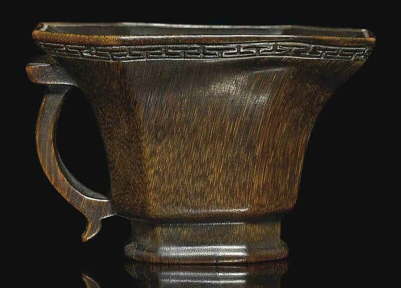 A small rhinoceros horn libation cup, 17th century