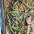 Haricots verts et pois chiches rôtis