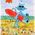 Chat surf sur la vague!