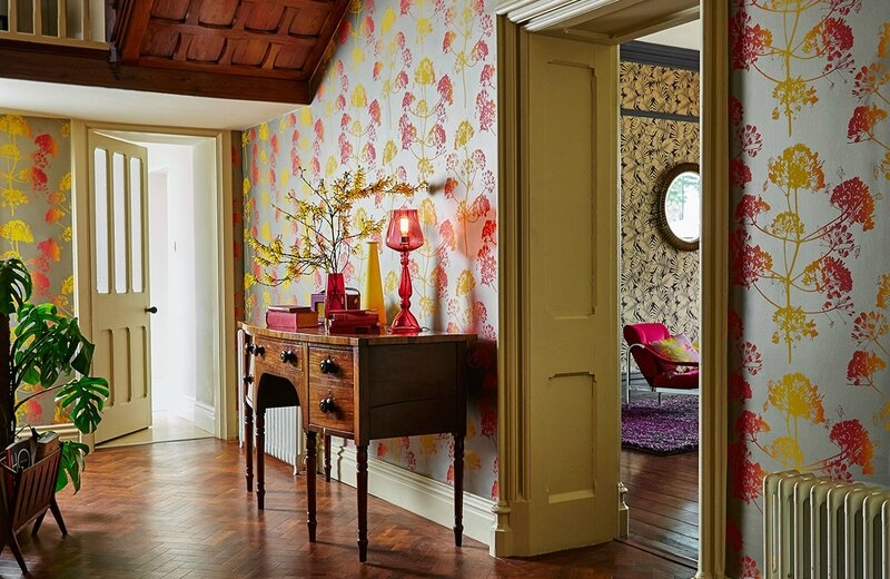 8-harlequin-callista-angeliki-wallpaper-red-yellow-orange-giant-fennel-botanical-greek-inspiration-hallway-stairs