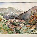 Village dans la valle´e, aquarelle de Caroline Despres-Garnier