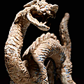 A gray pottery figure of a dragon, six dynasties-early tang dynasty