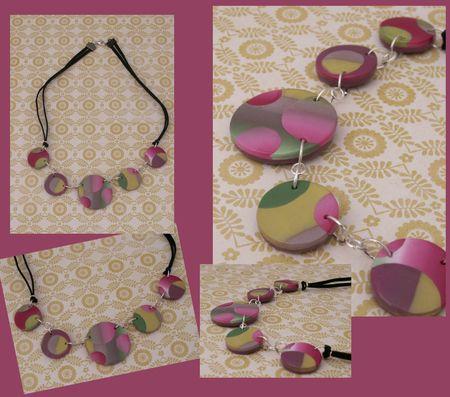 COLLIER LENTILLES PLATES rondes rose vert