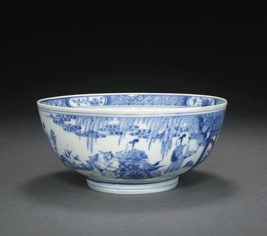 A blue and white porcelain bowl, Ruosheng zhencang mark, Kangxi period
