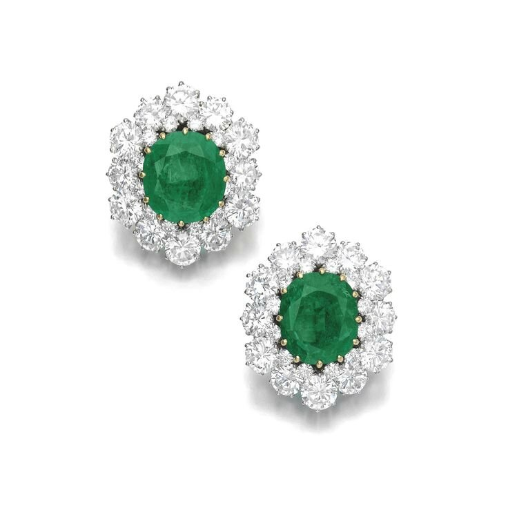 Pair of emerald and diamond ear clips, Bulgari