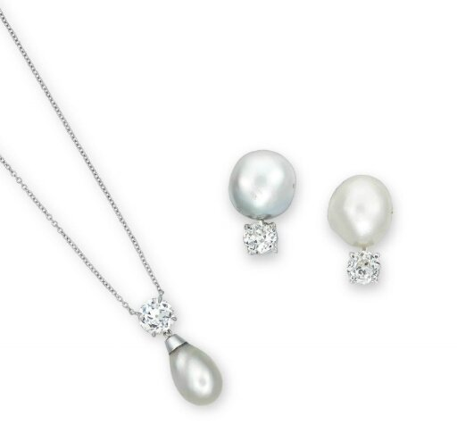 A suite of natural pearl and diamond jewellery