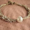 Collier ficelle de lin et perles