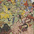 Krishna defeats the thousand-armed demon bana. mughal, akbar period, 1585–90