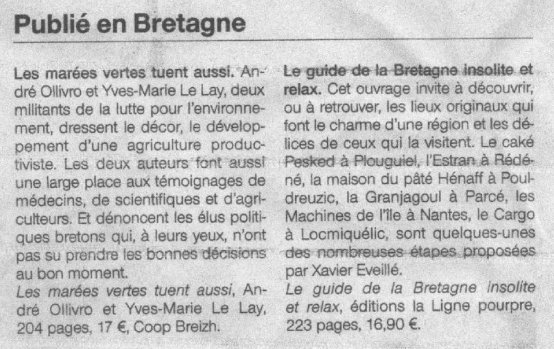 Ouest France, page Bretagne, 3 juin 2011