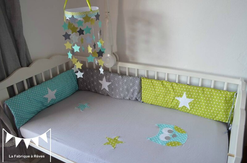 linge de lit b b articles textile et d coration chambre enfant turquoise vert anis gris. Black Bedroom Furniture Sets. Home Design Ideas