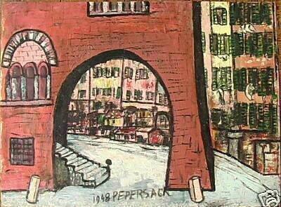 PEPERSACK Ville de Provence ou d'Italie 1948 36,5 x 51