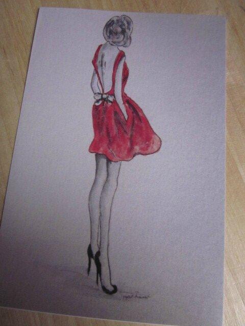"Carte postale ""La petite Robe rouge"""