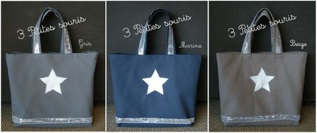 sac toile et pailettes argentes