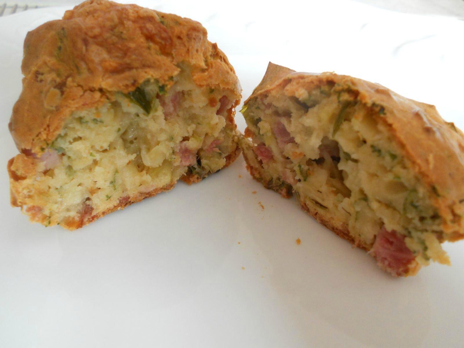Muffins salés jambon, poireaux et mozzarella
