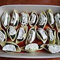 Pâtes farcies épinard-chèvre gratinées au four