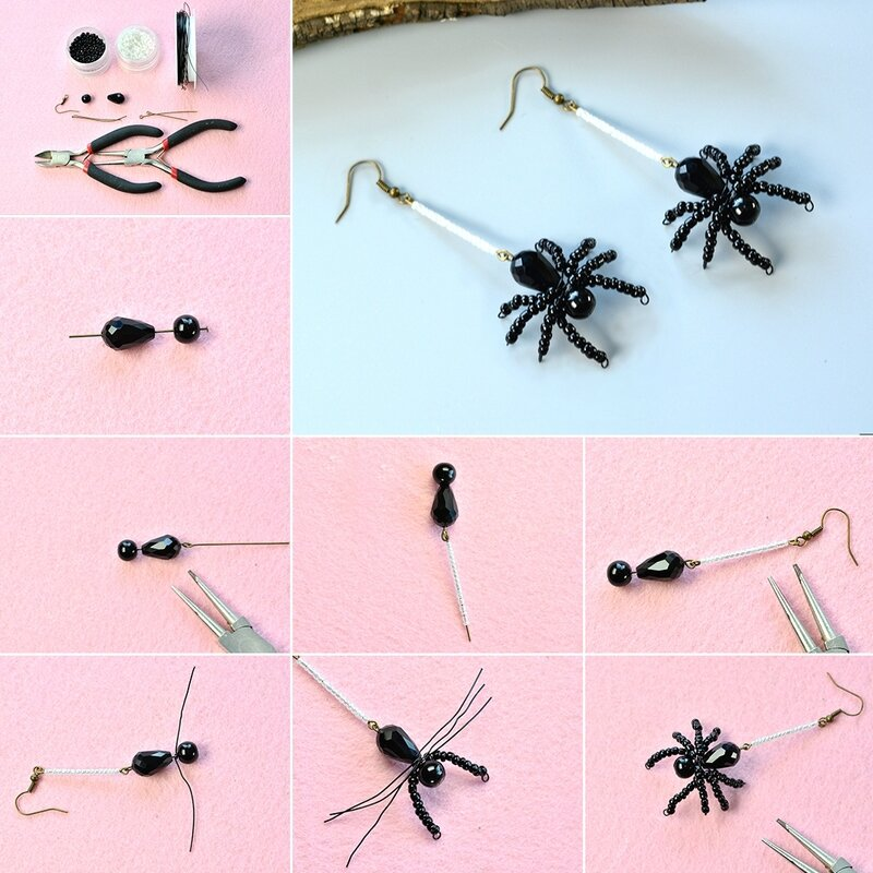 Pandahall-Instruction-on-How-to-Make-a-Pair-of-Beaded-Spider-Earrings-for-Halloween