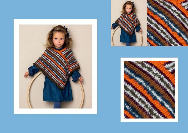 poncho rayures fillette