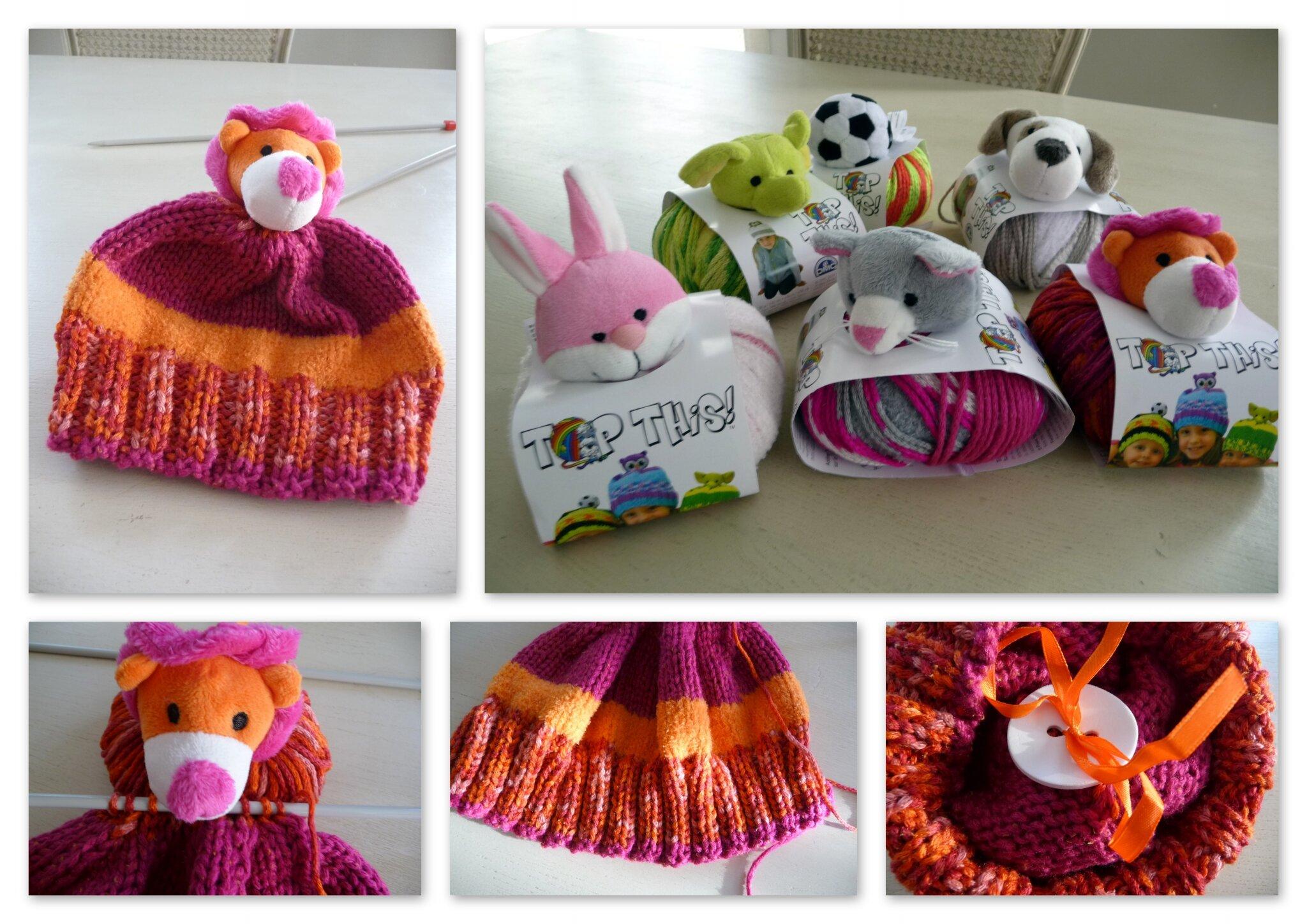 Petit bonnet pour enfant avec une pelote de laine