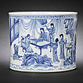 A fine blue and white cylindrical brush pot, bitong