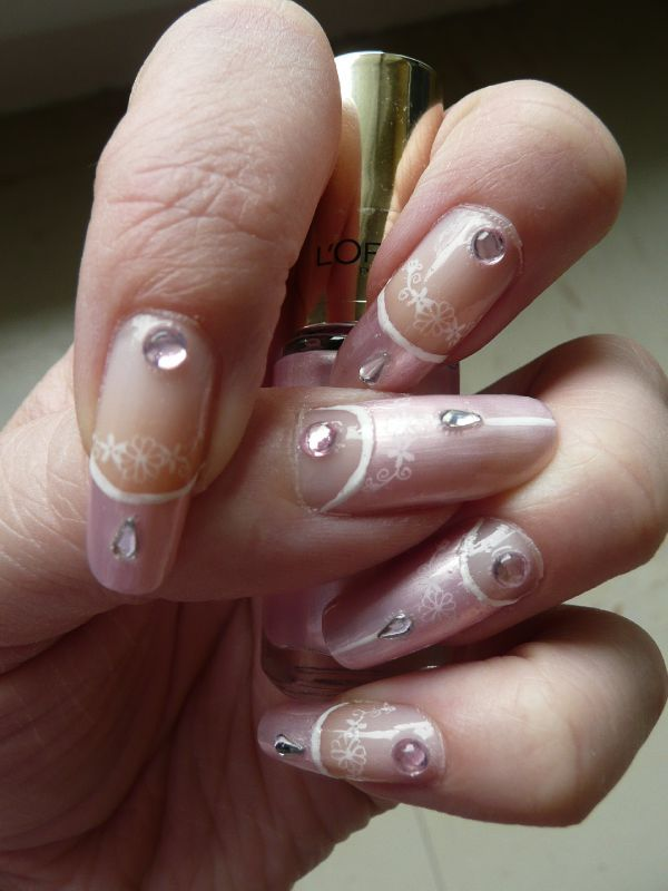 nail art rose pale