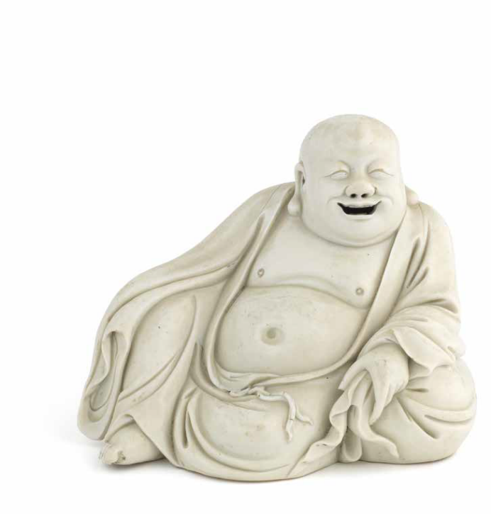 A Blanc-de-Chine figure of Budai, 17th century
