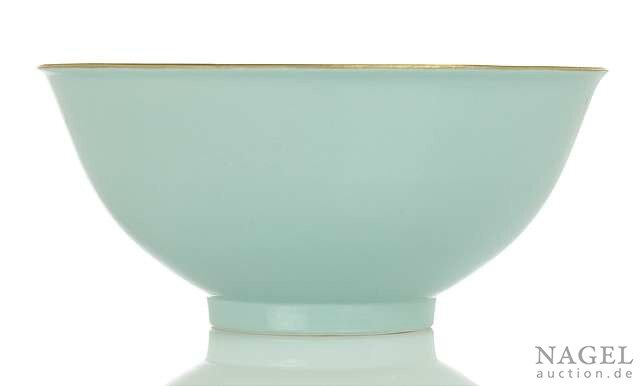 A fine and very rare turquoise-glazed porcelain bowl, China, underglaze blue four-character mark Jingwei Tang zhi