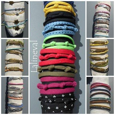 bracelets jersey et plume