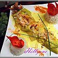Petit saumon tout bon, dans sa marre de crème coco, moutarde curcuma