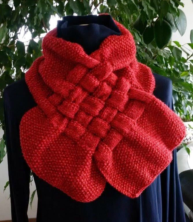 snood tressé rouge