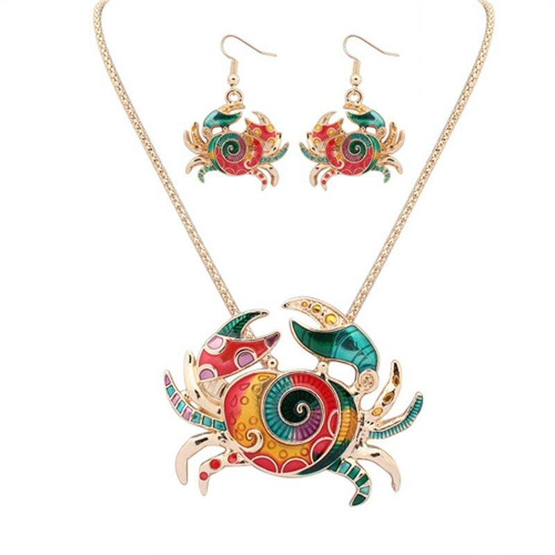 crabeEuropéenne-et-américaine-de-la-mode-animé-crabe-ensemble-de-bijoux-plaqué-or-multicolore-mer-crabe